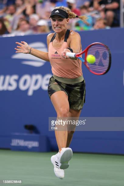 Angelique Kerber of Germany returns against Leylah Fernandez of Canada during her Women's Singles round of 16 match on Day Seven at USTA Billie Jean...