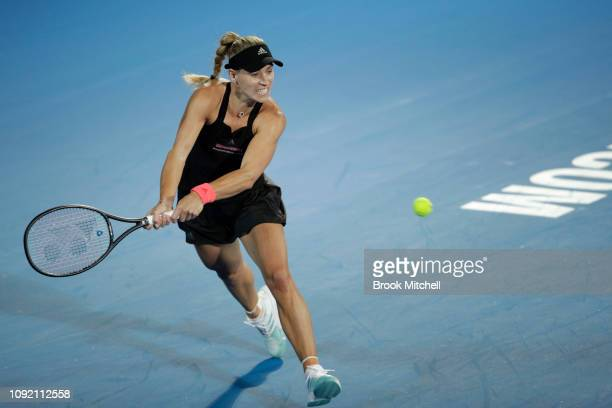 Angelique Kerber of Germany returns serve during her match with Petra Kvitova of the Czech Republic on day five of the 2019 Sydney International at...