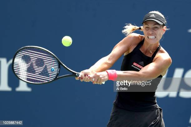 Angelique Kerber of Germany returns the ball during her women's singles third round match against Dominika Cibulkova of Slovakia on Day Six of the...