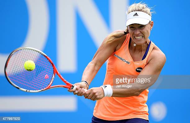 Angelique Kerber of Germany returns the ball in her singles final match against Karolina Pliskova of Czech Republic on day seven of the Aegon Classic...