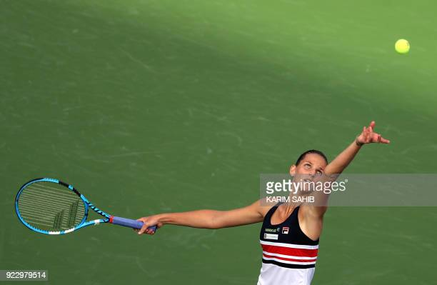 Angelique Kerber of Germany returns the ball to Karolina Pliskova of the Czech Republic during their quarterfinal match during the WTA Dubai Duty...