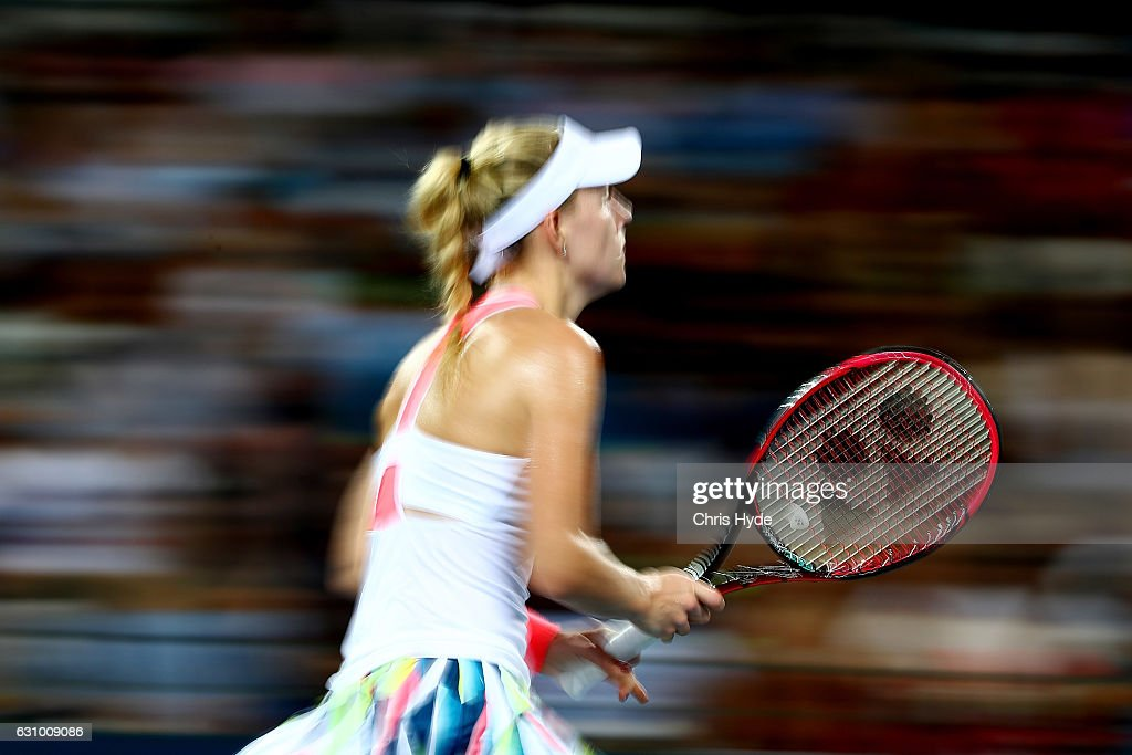 Angelique Kerber of Germany runs for the ball during her quarter final match against Elina Svitolina of the Ukraine during day five of the 2017 Brisbane International at Pat Rafter Arena on January 5, 2017 in Brisbane, Australia.