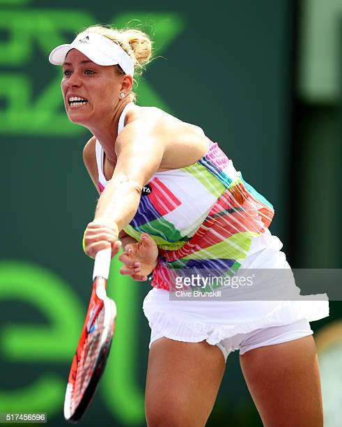 Angelique Kerber of Germany serves against Barbora Strycova of the Czech Republic in their second round match during the Miami Open Presented by Itau...