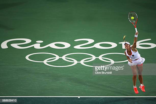 Angelique Kerber of Germany serves against Madison Keys of the United States in the Women's Singles Semifinal on Day 7 of the Rio 2016 Olympic Games...