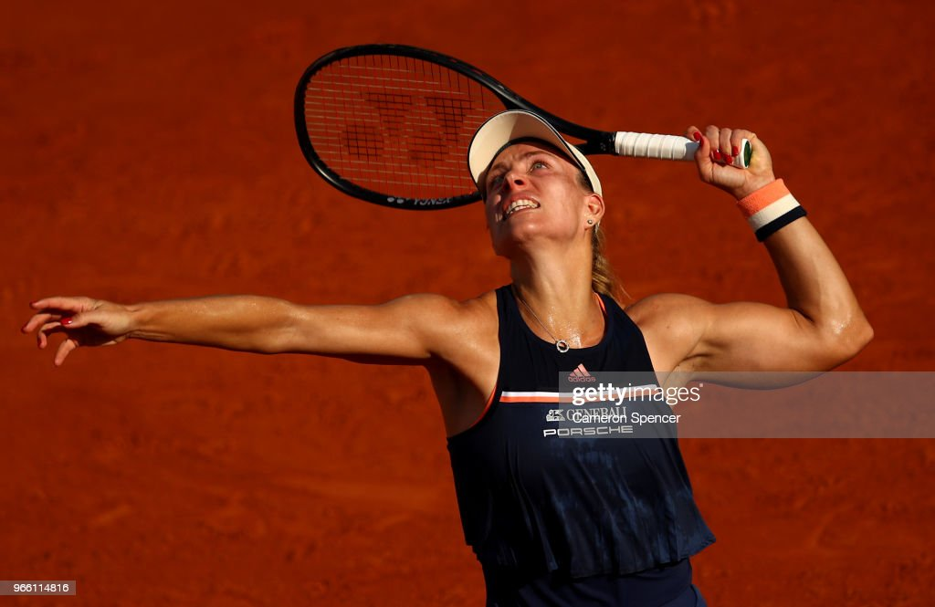 Angelique Kerber of Germany serves during the ladies singles third round match agaianst Kiki Bertens of Netherlands during day seven of the 2018 French Open at Roland Garros on June 2, 2018 in Paris, France.