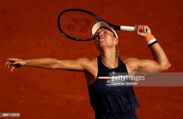 Angelique Kerber of Germany serves during the ladies singles third round match agaianst Kiki Bertens of Netherlands during day seven of the 2018...