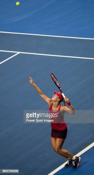 Angelique Kerber of Germany serves during the singles Round Robin match of the WTA Elite Trophy Zhuhai 2017 against Ashleigh Barty of Australia at...