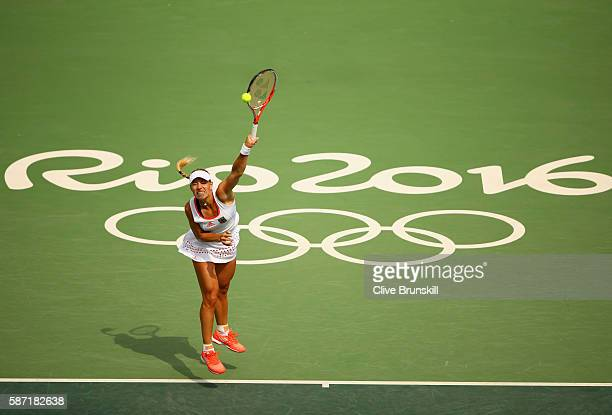 Angelique Kerber of Germany serves during the Women's Singles second round match against Eugenie Bouchard of Canada on Day 3 of the Rio 2016 Olympic...
