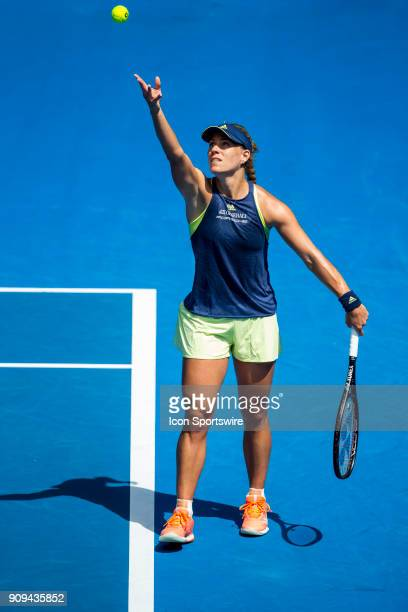 Angelique Kerber of Germany serves in her Quarterfinals match during the 2018 Australian Open on January 24 at Melbourne Park Tennis Centre in...