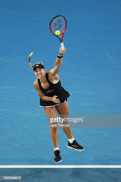 Angelique Kerber of Germany serves in her Women's Singles quarterfinals match agins Maria Sakkari of Greece during day four of the WTA 500 Grampians...