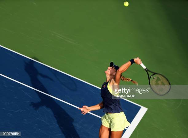 Angelique Kerber of Germany serves the ball to Karolina Pliskova of the Czech Republic during the quarterfinal tennis match in the WTA Dubai Duty...
