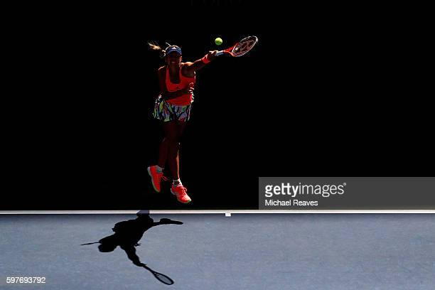 Angelique Kerber of Germany serves to Polona Hercog of Slovenia during her first round Women's Singles match on Day One of the 2016 US Open at the...