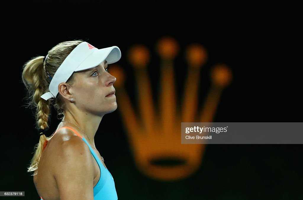 Angelique Kerber of Germany shows her dejection in her fourth round match against Coco Vandeweghe of the United States on day seven of the 2017 Australian Open at Melbourne Park on January 22, 2017 in Melbourne, Australia.