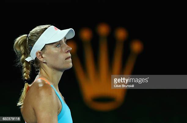 Angelique Kerber of Germany shows her dejection in her fourth round match against Coco Vandeweghe of the United States on day seven of the 2017...