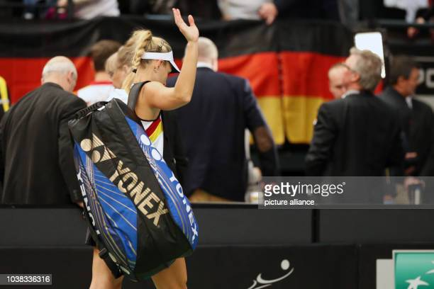 Angelique Kerber of Germany walks of the tennis court after the match against Belinda Bencic of Switzerland at the Fed Cup tennis quarterfinal in...