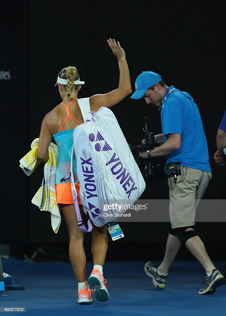 Angelique Kerber of Germany walks off court after her straight sets defeat in her fourth round match against Coco Vandeweghe of the United States on day seven of the 2017 Australian Open at Melbourne Park on January 22, 2017 in Melbourne, Australia.