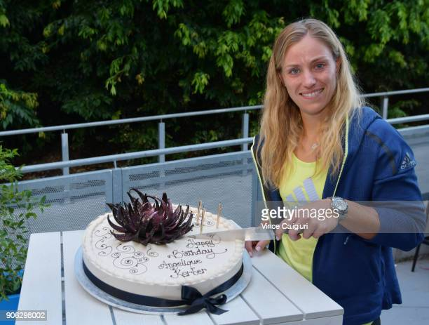 Angelique Kerber of Germany was presented with a celebratory 30th birthday cake by Australian Open partner Lavazza thanks to pasticceria institution...