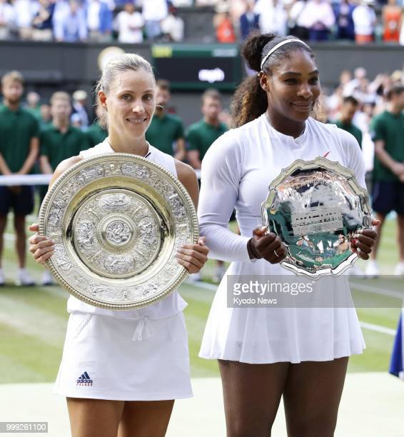 Angelique Kerber of Germany winner of the women's singles final at Wimbledon and runnerup Selena Williams of the United States pose for photos with...