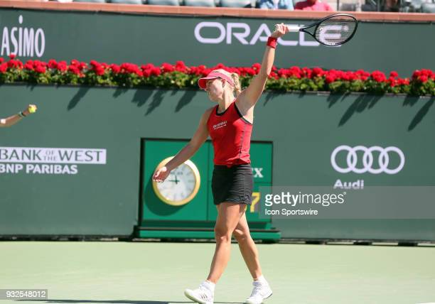 Angelique Kerber reacts after losing a point during the quarterfinals of the BNP Paribas Open on March 15 at the Indian Wells Tennis Gardens in...
