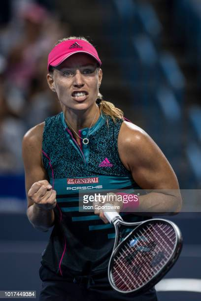 Angelique Kerber reacts to winning her match against Anastasia Pavlyuchenkova during Day 4 of the Western and Southern Open at the Lindner Family...