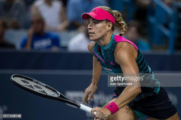 Angelique Kerber runs to the net during Day 4 of the Western and Southern Open at the Lindner Family Tennis Center on August 15 2018 in Mason Ohio