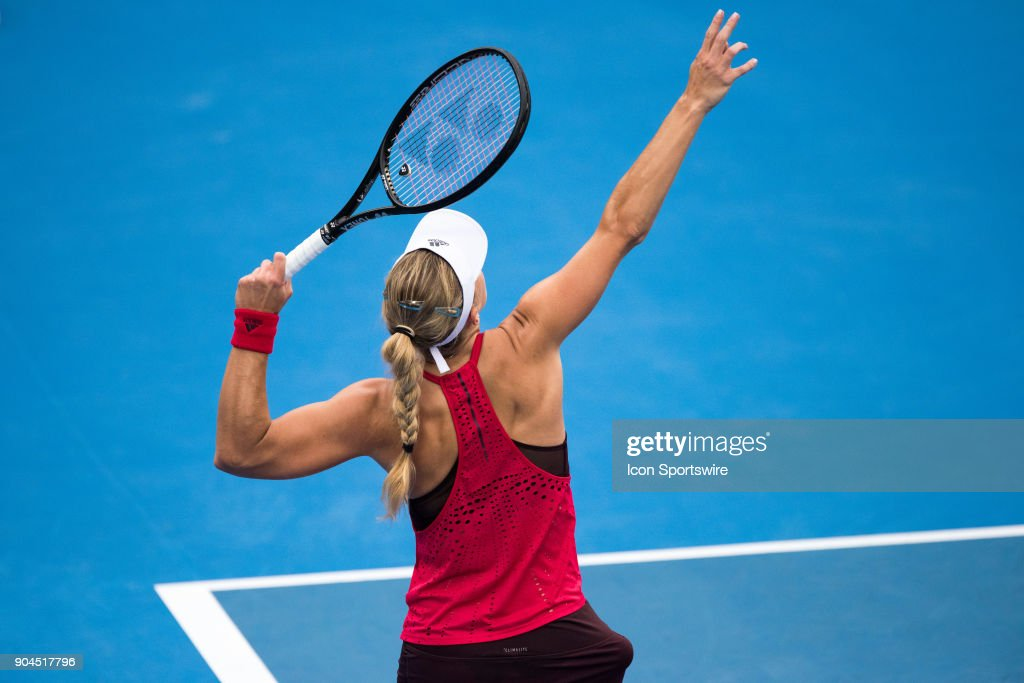Angelique Kerber (GER) serves at the Sydney International Womens Tennis Final between Angelique Kerber (GER) and Ashleigh Barty (AUS) held at The Sydney Tennis Centre in Sydney on January 13, 2018.