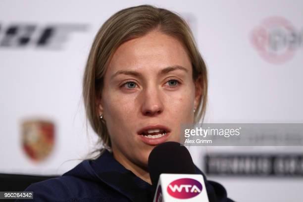 Angelique Kerber talks to the media during day 1 of the Porsche Tennis Grand Prix at PorscheArena on April 23 2018 in Stuttgart Germany