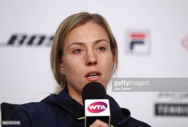 Angelique Kerber talks to the media during day 1 of the Porsche Tennis Grand Prix at PorscheArena on April 23 2018 in Stuttgart Germany