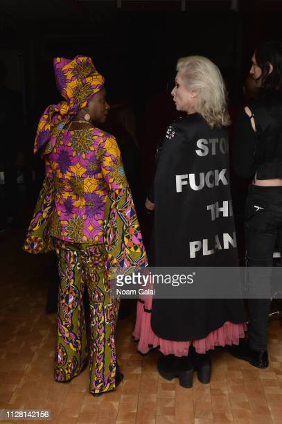 Angelique Kidjo and Debbie Harry pose backstage during the 32nd Annual Tibet House US Benefit Concert Gala at Carnegie Hall on February 07 2019 in...