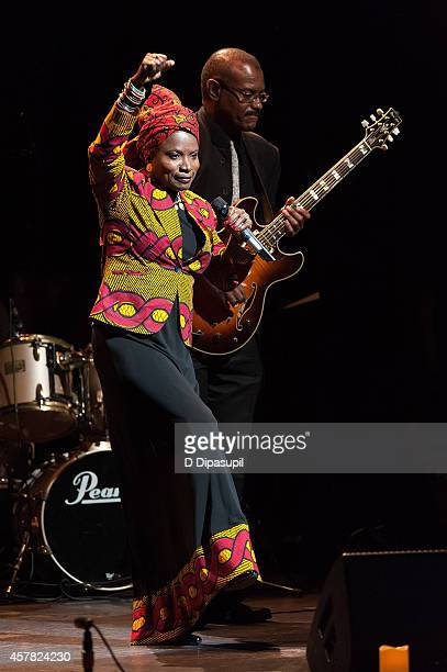 Angelique Kidjo and Dominic James perform onstage during The Jazz Foundation Of America's 13th Annual A Great Night In Harlem Gala Concert at The...