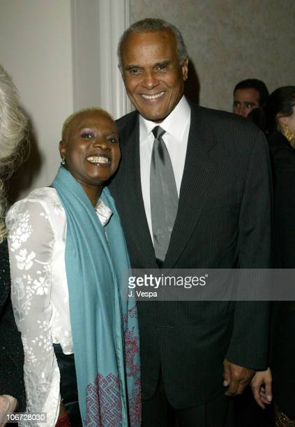 Angelique Kidjo and Harry Belafonte during UNICEF Goodwill Gala Celebrating 50 Years of Celebrity Goodwill Ambassadors Backstage and Audience at...
