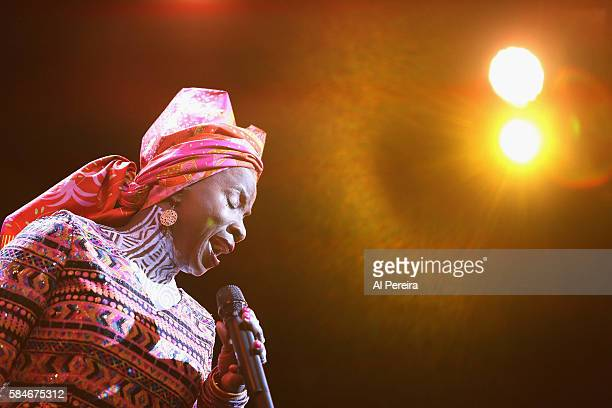 Angelique Kidjo performs a Tribute to Celia Cruz as part of Celebrate Brooklyn at Prospect Park Bandshell on July 29 2016 in New York City