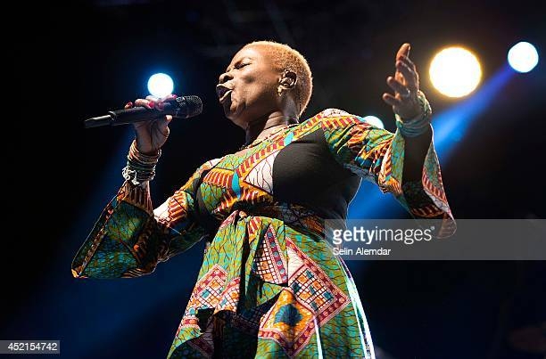 Angelique Kidjo performs on stage at Feriye Restaurant for the 21st Istanbul Jazz Festival organized by IKSV on July 14 2014 in Istanbul Turkey