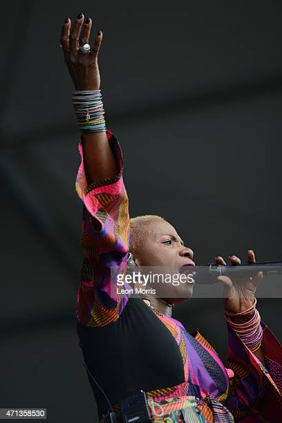 Angelique Kidjo performs on stage at the New Orleans Jazz and Heritage Festival on April 26 2015 in New Orleans United States