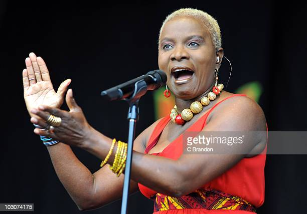 Angelique Kidjo performs on stage during the second day of Womad Festival at Charlton Park on July 24 2010 in Wiltshire England