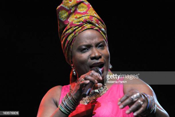 Angelique Kidjo performs on stage in concert at the Royal Festival Hall on March 8 2013 in London England
