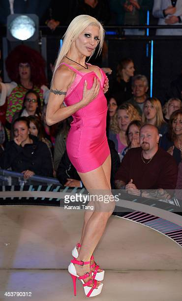 Angelique Morgan enters the Celebrity Big Brother house at Elstree Studios on August 18 2014 in Borehamwood England