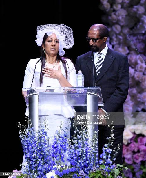 Angelique Smith and Dawit Asghedom speak onstage during Nipsey Hussle's Celebration of Life at STAPLES Center on April 11 2019 in Los Angeles...