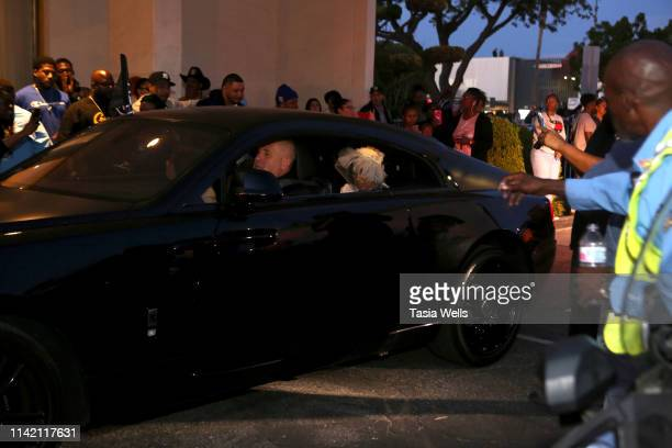 Angelique Smith Nipsey Hussle's mother arrives at Angelus Funeral Home after his Celebration of Life and Funeral Procession on April 11 2019 in Los...