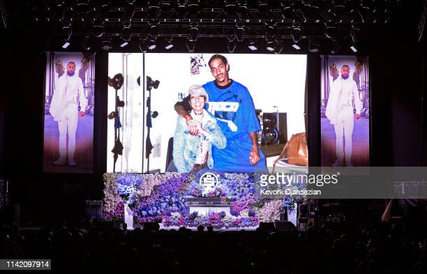 Angelique Smith speaks onstage during Nipsey Hussle's Celebration of Life at STAPLES Center on April 11 2019 in Los Angeles California Nipsey Hussle...