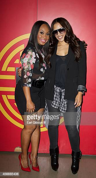 Angell Conwell and Melissa De Sousa attend Bounce TV Hosts Season 2 Premiere Of 'Family Time' at TCL Chinese 6 Theatres on October 4 2014 in...