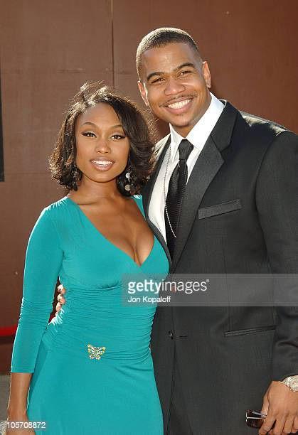 Angell Conwell and Omar Gooding during 10th Annual Soul Train Lady of Soul Awards Arrivals at Pasadena Civic Auditorium in Pasadena California United...