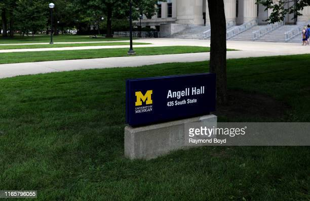 Angell Hall signage at the University Of Michigan in Ann Arbor Michigan on July 30 2019