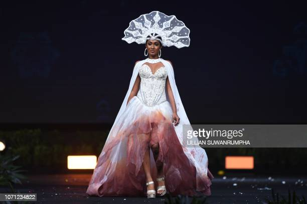 Angella Dalsou of Saint Lucia poses on stage during the 2018 Miss Universe national costume presentation in Chonburi province on December 10 2018