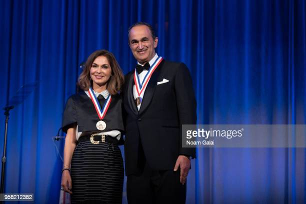 Angella Nazarian and David Nazarian attend the 2018 Ellis Island Medals of Honor at Ellis Island on May 12 2018 in New York City