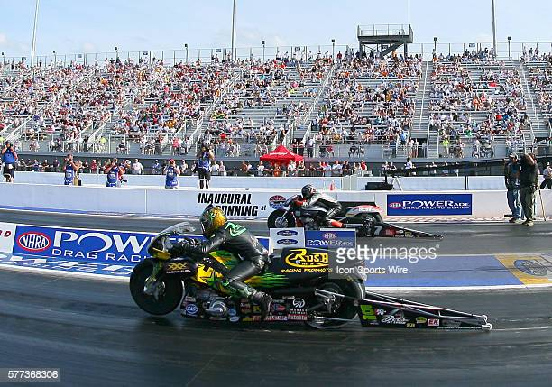 Angelle Sampey and Eddie Krawiec during elimination rounds at the NHRA Carolina Nationals at the zMAX Dragway in Concord NC