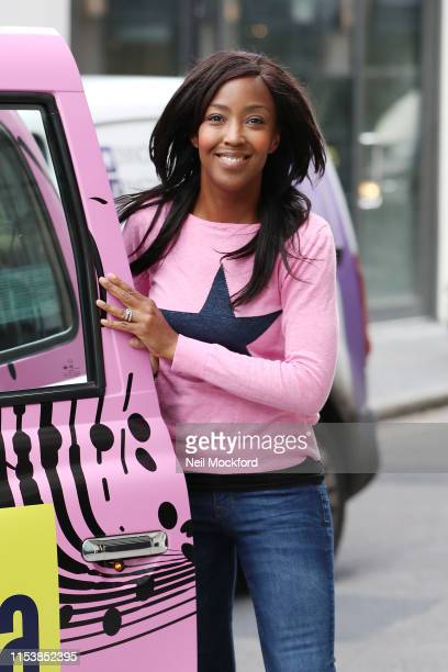 Angellica Bell leaving the Bauer Radio Studios where she is a new presenter on Scala Radio on June 05, 2019 in London, England.