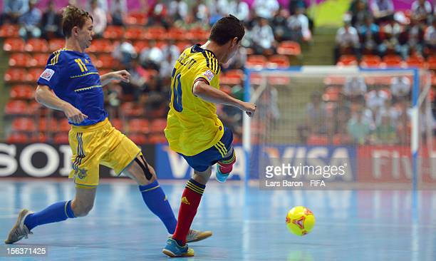 Angellott Caro of Colombia scores his teams second goal during the FIFA Futsal World Cup QuarterFinal match between Colombia and Ukraine at Indoor...