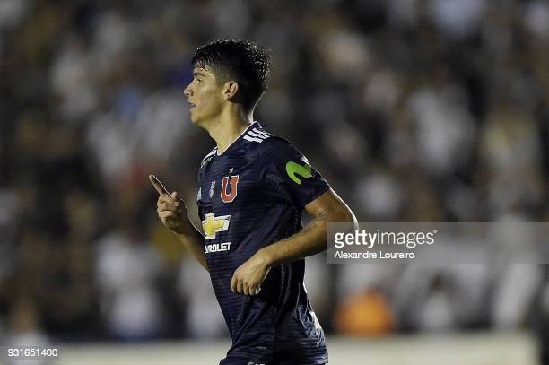 Angelo Araos of Universidad de Chile celebrates their first scored goal during a Group Stage match between Vasco and Universidad de Chile as part of...