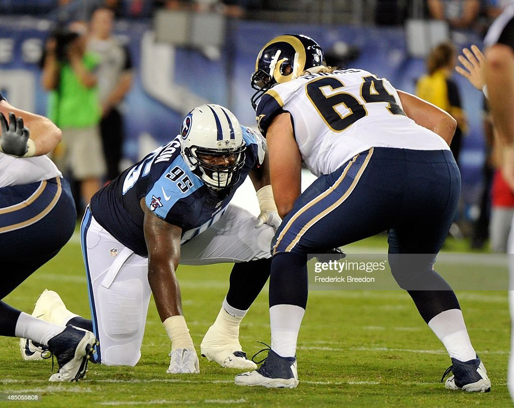 Angelo Blackson #95 of the Tennessee Titans plays against the St. Louis Rams during the second half of a pre-season game at LP Field on August 23, 2015 in Nashville, Tennessee.